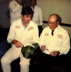 Steve Reissig discussing department logo with Honda founder, Soichiro Honda