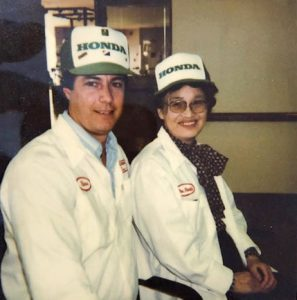 Steve Reissig pictured with Mrs. Sachi Honda circa 1987.